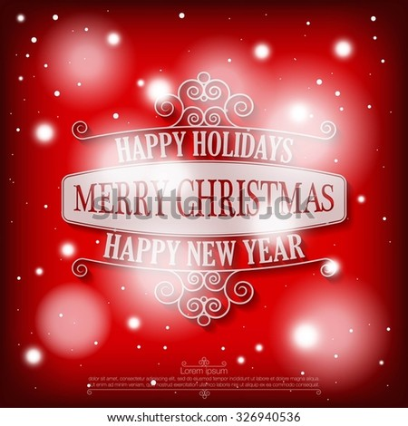 Happy holidays merry christmas happy new stock vector hd royalty happy holidays merry christmas and a happy new year wishes card on snowy red background m4hsunfo