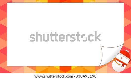 Happy Holidays Merry Christmas greeting card. Cartoon snowman character turning a blank sheet of paper with hand. Page flip curl effect. Isolated objects for your custom design. Abstract background. - stock vector