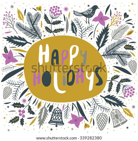 Happy Holidays. Print design - stock vector