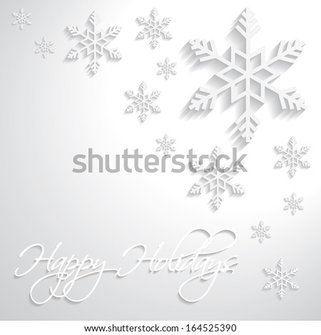 Happy Holidays snowflakes vector paper 3d