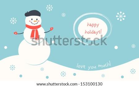 Happy Holidays Snowman Card - stock vector