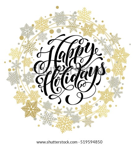 happy holidays text winter celebration christmas stock vector rh shutterstock com happy holidays vector free free happy holidays text vector