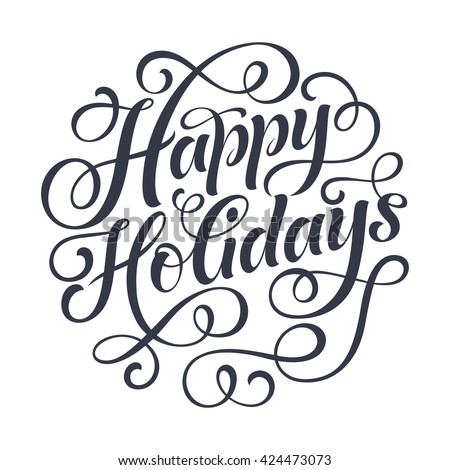 happy holidays vector text on white stock vector 424473073 rh shutterstock com happy holidays vector graphics happy holidays vector free download