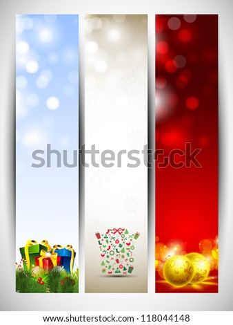 Happy Holidays website banners with gift boxes and evening balls. EPS 10. - stock vector