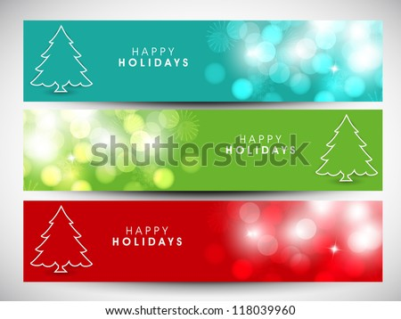 Happy Holidays website header or banner with beautiful snowflakes and Xmas tree. EPS 10. - stock vector