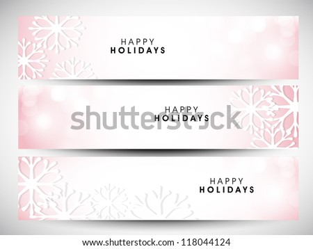 Happy holidays website headers or banners. EPS 10. - stock vector
