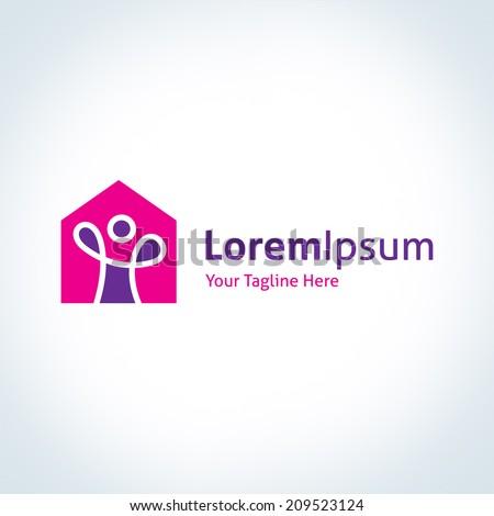 Happy home real estate construction building company vector logo icon - stock vector