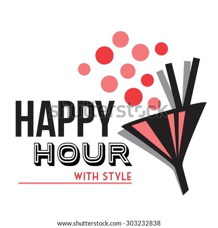 happy hour - stock vector