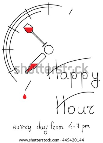 Happy hour. a stylized image of the clock