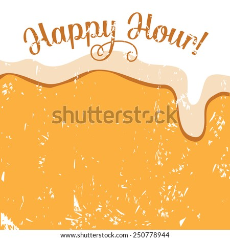Happy hour beer background EPS 10 vector royalty free illustration for pubs, bars, nightclubs, restaurants, signage, posters, advertising, coasters, web, blogs, articles - stock vector