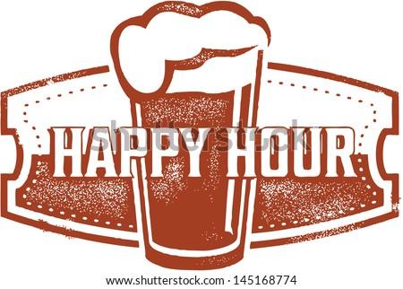 Happy Hour Beer Bar Stamp - stock vector
