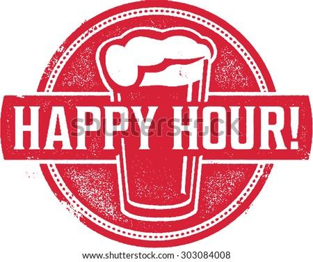Happy Hour Beer Menu Stamp - stock vector