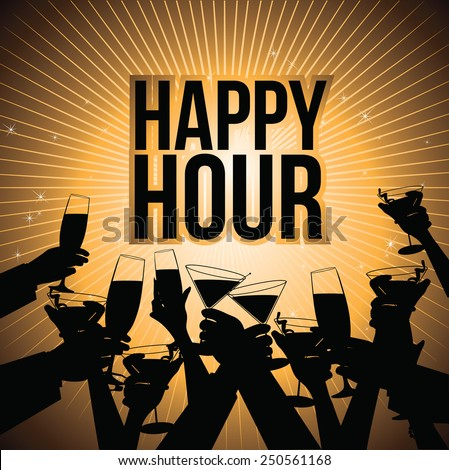 Happy hour burst with toasting hands design EPS 10 vector royalty free illustration for pubs, bars, nightclubs, restaurants, signage, posters, advertising, coasters, web, blogs, articles - stock vector
