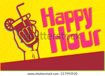 Happy Hour cocktail party flyer template with glass in the hand - stock vector