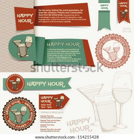 Happy Hour Collection: set of various design elements � banner, ribbon, icon � for happy hour layouts e.g. - stock vector