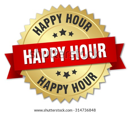 happy hour 3d gold badge with red ribbon - stock vector