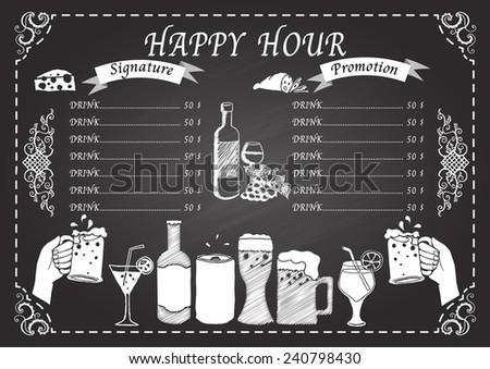 Happy hour drink on chalkboard design template - stock vector