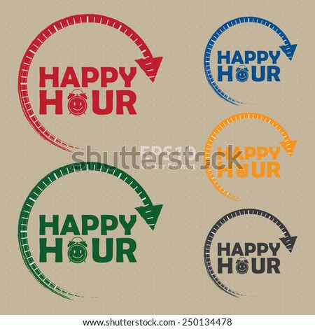 happy hour icon, label, banner, sign, vector format - stock vector