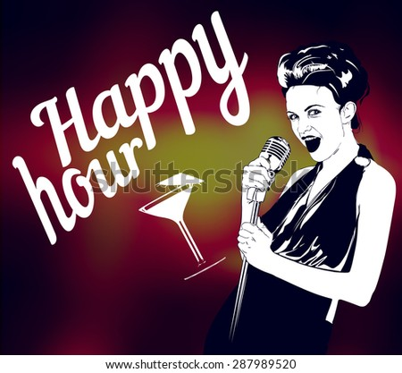 happy hour lettering with background and lady singer - stock vector