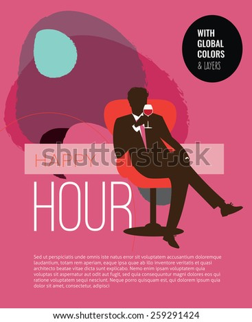 Happy hour man holding a red wine glass and sitting on a design chair.  Vector illustration Eps10 file. Global colors & layers. - stock vector