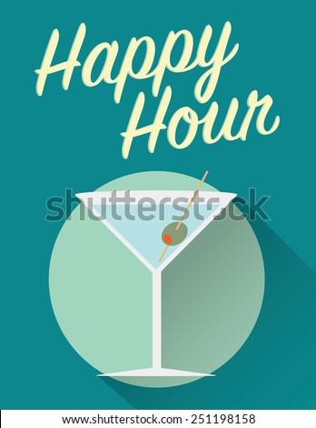 Happy hour poster, martini with olive over green background