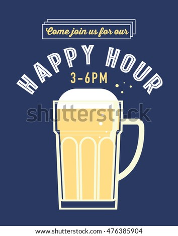 happy hour poster template vector/illustration