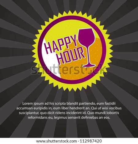 happy hour tag with space for copy over black background. vector - stock vector