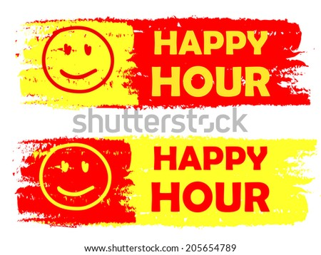Happy Hour Smile Signs Banners Text Stock Vector 205654789