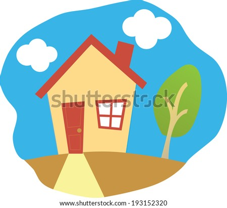 Happy House and a tree - stock vector