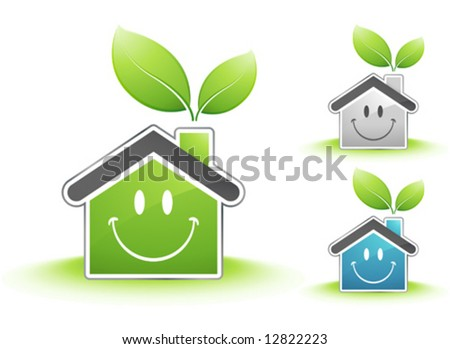 Happy houses - stock vector