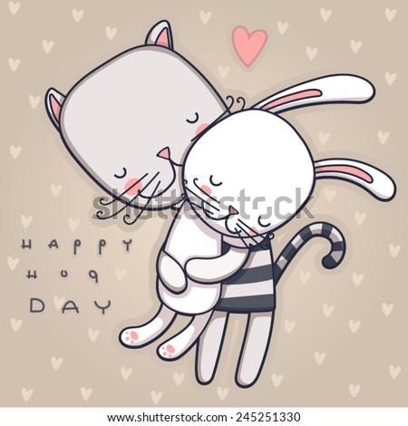 happy hugs day - stock vector
