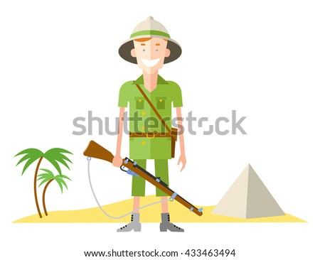 happy hunter person with retro pith helmet   and gun vector illustration, in flat style, for safari design