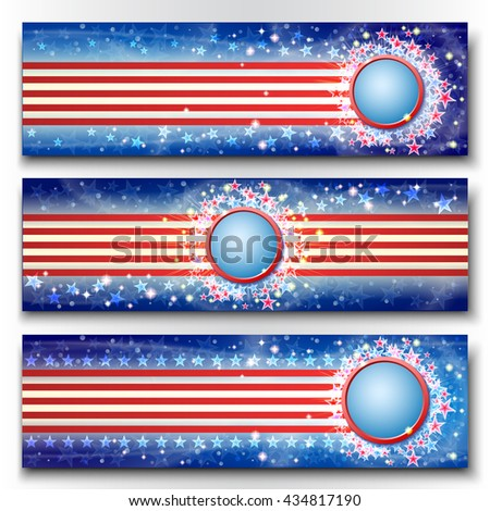 Happy independence day banners set. Celebration blue background with firework and stars. - stock vector