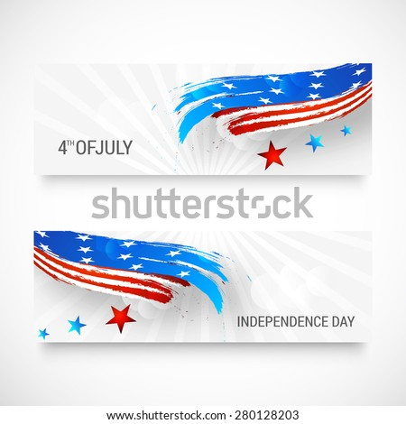 Happy independence day card United States of America. American Flag header design, vector illustration.