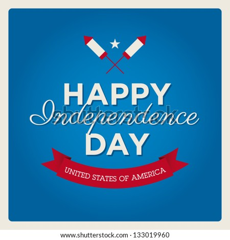 Happy independence day card United States of America, 4 th of July, with fonts, ribbon and rockets fireworks - stock vector