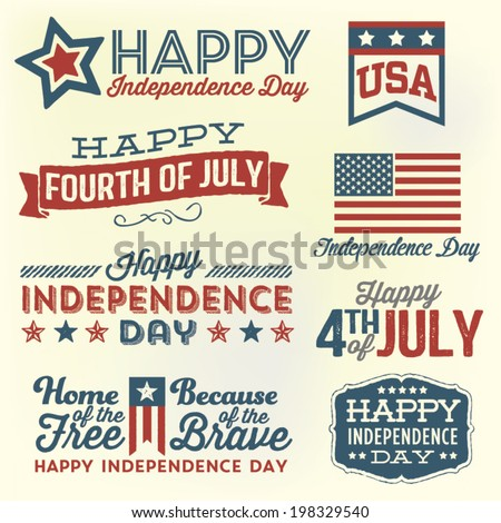 Happy Independence Day - Fourth of July - July 4th Vector Set  - stock vector