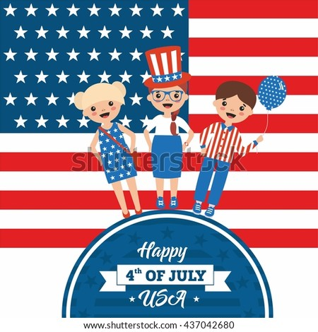 Happy independence day in USA. Funny teenagers on american flag background. Cartoon illustration in the bright colors of 4th July. People with balloons and wearing hat on a circle with typography.