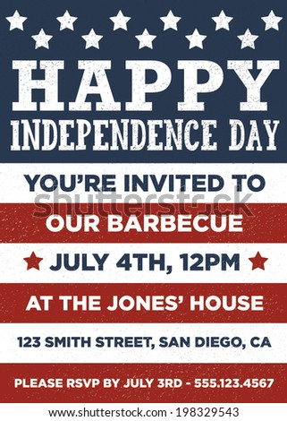 Happy Independence Day - July 4th - American Flag Message / Invitation Template - Fourth of July