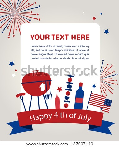 HAPPY independence day of america, card or invitation template - stock vector