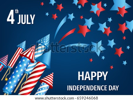 Independence day background stock images royalty free images happy independence day of the usa 4th of july poster with pyrotechnic firework rockets spiritdancerdesigns Gallery