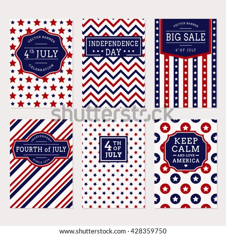 Happy Independence Day! Set of American banners for 4th of July theme. Collection of templates in traditional red, blue and white colors. Vector greeting cards, sale label and holiday banners. - stock vector