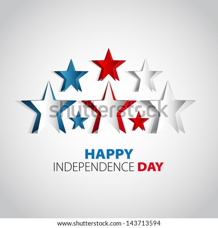 Happy Independence Day star card in vector format - stock vector