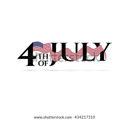 Happy independence day 4-th july with colors of american flag. Vector. - stock vector