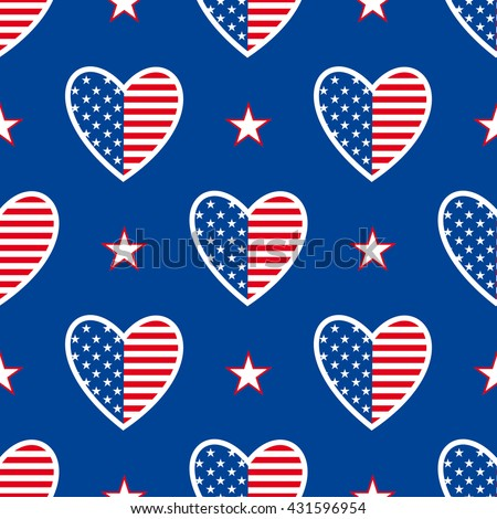 Happy independence day United States of America! 4th of july. American patriotic seamless pattern. Vector background.