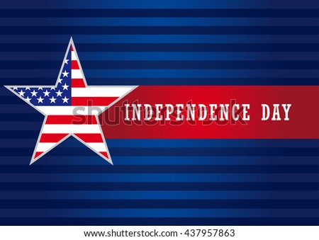 "Happy independence day USA vector background template with star in national flag colors and text ""Independence Day"" on red ribbon. Independence Day USA star banner"