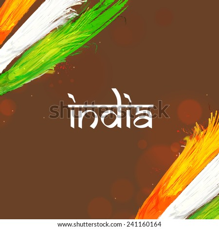Happy Indian Republic Day celebration with national tricolor feathers and stylish text India on brown background. - stock vector