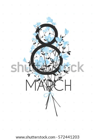 HAPPY International Women's Day and 8 march. greeting card with bouquet of small blue flowers isolated on the white vintage background.