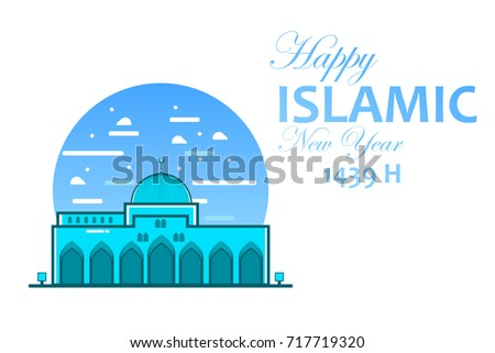 happy islamic new year greeting card with mosque illustration