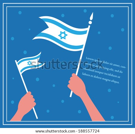 Happy Israeli independence day. hand holding a flag.  - stock vector