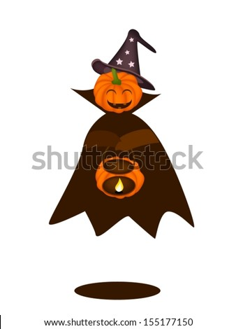 Happy Jack-o-Lantern Pumpkin in Halloween Costume Holding Hand with Candle Light Basket, For Halloween Celebration  - stock vector